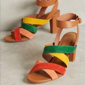 Anthropologie Charlotte Stone Rainbow Heels Size 9